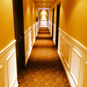 Inside the hotel. Can't you picture Danny Torrence riding his big wheel down the hall?!
